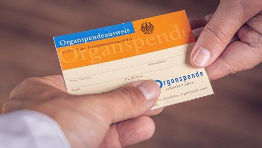 Zwei Hände mit einem Organspendeausweis bei der Übergabe des Ausweises.