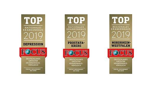 Focus-Siegel für die Fachbereiche Depression und Prostatakrebs