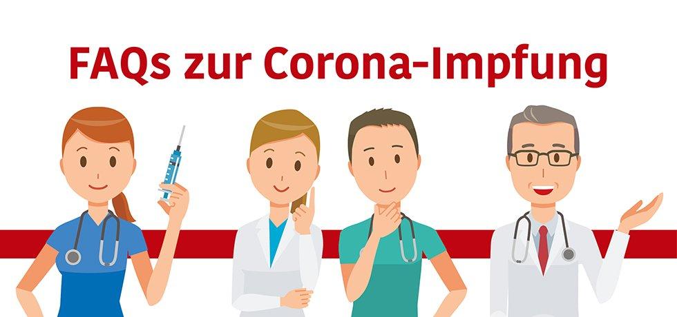 Fragen zur Cortona-Schutzimpfung - Symboldbild: freundliche Zeichnung von Ärzten und Pflegekräften, die Fragen beantworten.