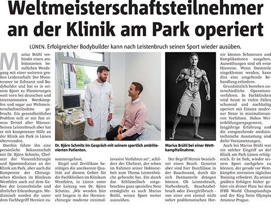 """Zeitungsausschnitt eines Berichts mit der Überschrift """"Weltmeisterschaftsteilnehmer an der Klinik am Park operiert""""."""