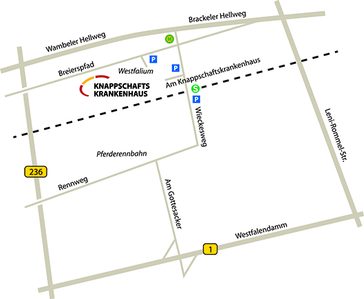 Anfahrt Knappschaftskrankenhaus Dortmund
