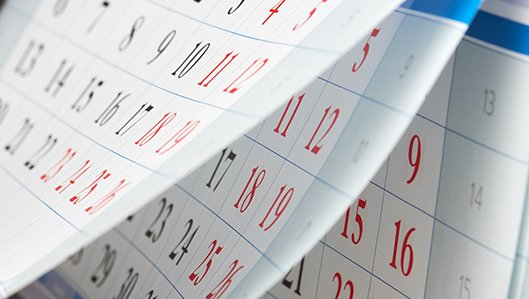 Aufgefächerter Wandkalender