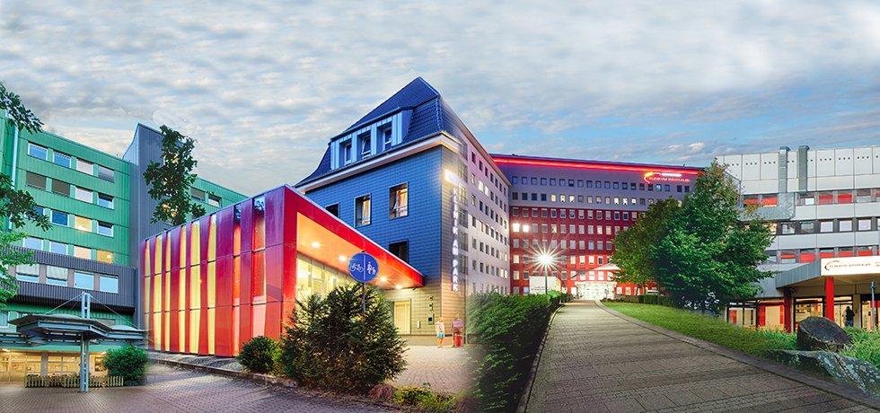 Foto-Collage aller vier Krankenhäuser im Klinikum Westfalen