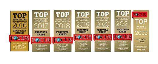 Focus Siegel Top Nationales Krankenhaus Prostata-Krebs 2016 bis 2022