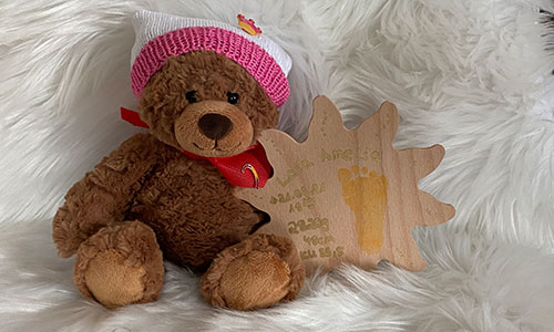 Teddybär mit Holzsonne