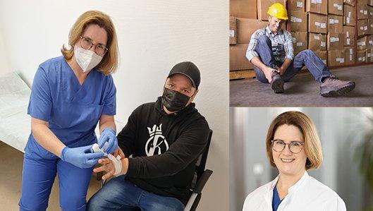 Dr. Susanne Krämer versorgt einen Arbeitsunfall in der BG-Ambulanz der KLinik am Park