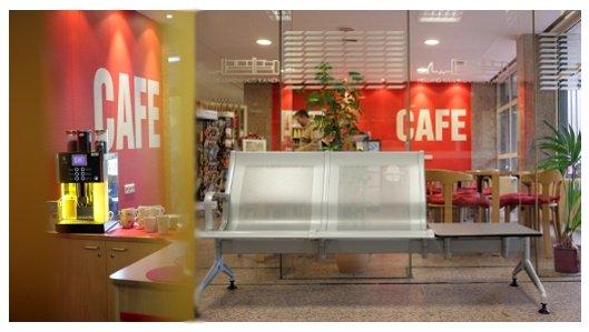 Die Cafeteria im Erdgeschoss des Hellmig-Krankenhauses Kamen
