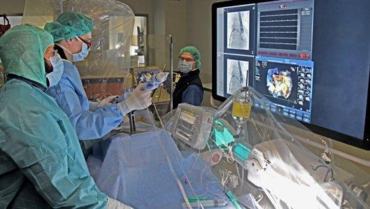 Das Team der erfahrenen Kardiologen, welches den MitraClip-Eingriff durchführt, besteht aus Oberarzt Dr. Ahmed Farah, Oberarzt Dr. Björn Plicht und Chefarzt Prof. Dr. Thomas Buck (v.l.n.r.).