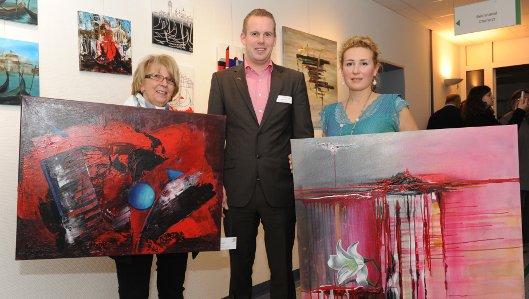 Uschi Buse (Künstlerin), Oliver Hackenfort (Klinikum West-falen) Nathalie Bragina (Künstlerin) [von links nach rechts]